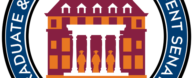 the logo has a stylized image of the Donaldson Brown facade with three graduates standing between the four pillars of the entry way. The building is in maroon with orange window on the first floor, orange with maroon windows on the upper floor and the roof is maroon with white window frames. The cupola at the top is maroon sitting atop orange. The words Graduate student assembly of virginia tech are in white superimposed on a circle of cadet blue. The blue circle is bounded inside and out by black circles.